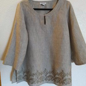 """Embroidered 100% Linen Tunic """"Earthy"""""""